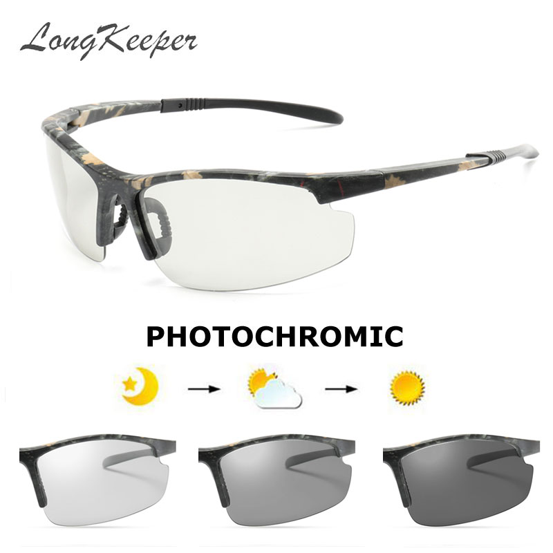 LongKeeper Men Photochromic Sunglasses New HD Polarized