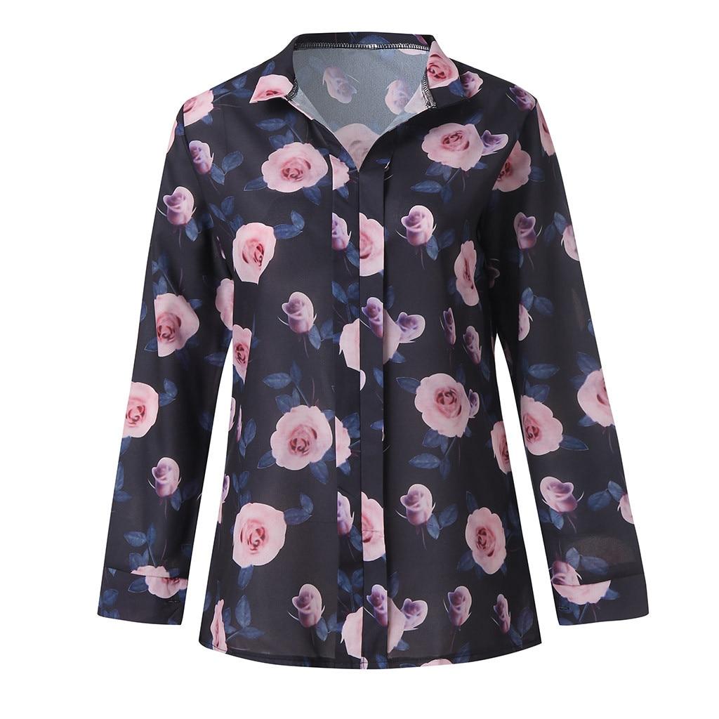 Blouses & Shirts Autumn Women Blouses Rose Flower Print Long Sleeve Tops Shirt Slash Neck Collar Cotton Shirts Plus Size Blouse Blusas #zi5850