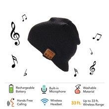 New Fashion Bluetooth Hats Warm Soft Hat Wireless Smart Cap Knitted Bluetooth Headset With screen Headphone Speaker Mic black