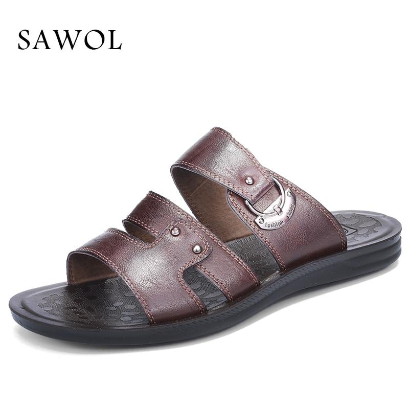 Sawol Men Sandals Genuine Split Leather Men Beach Sandals Brand Men Casual Shoes Flip Flops Thong Sneakers Summer Plus Big Size