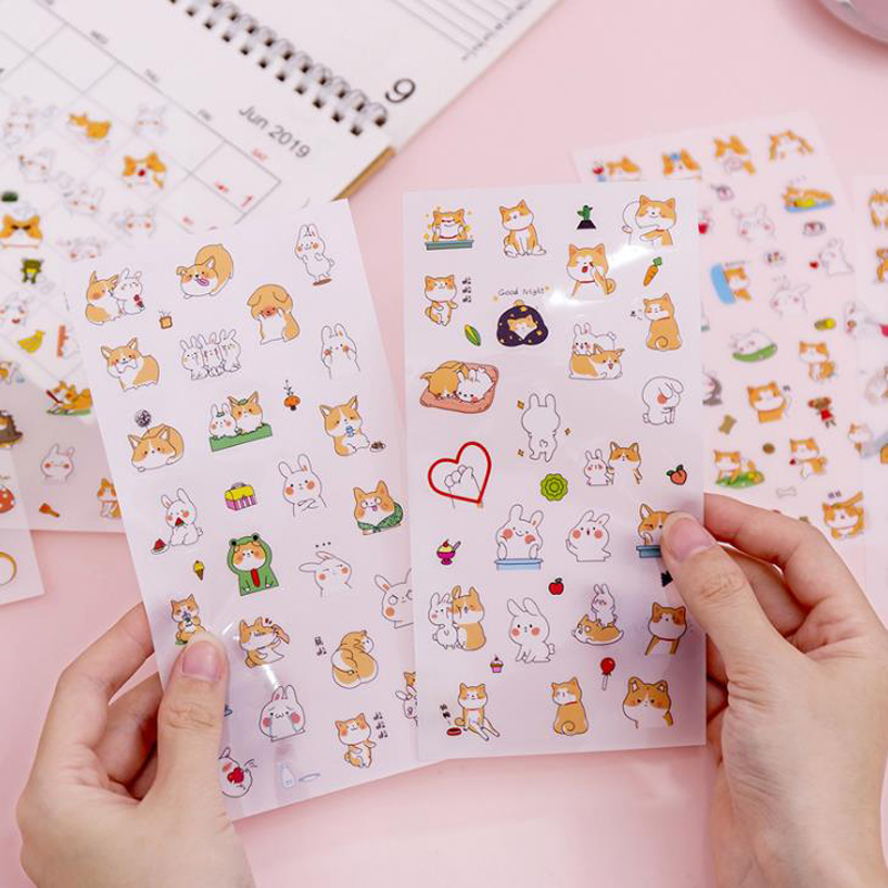Sticker 45 Pcs//Pack Akita Dog Cute Diary Flower Stickers Stationery Sticker New
