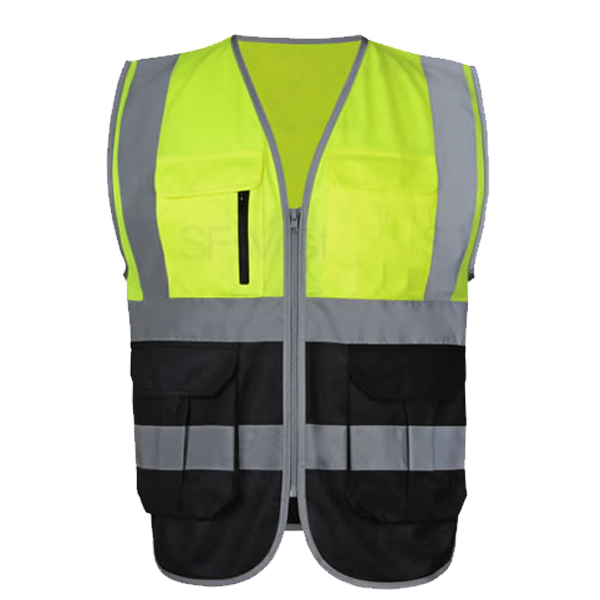 SFvest two tone yellow black safety reflective gilet reflective vest free shipping цены онлайн