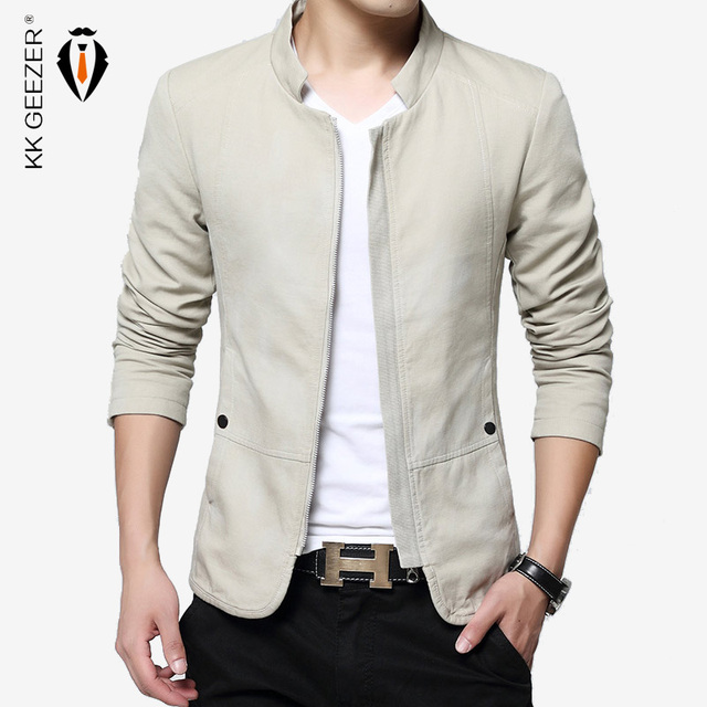 ff530800e05 Autumn Men Jacket Slim Thin Spring 100% Cotton Suit Jacket and Coat Fashion  Clothes High Quality Fabric Jackets Business Closure