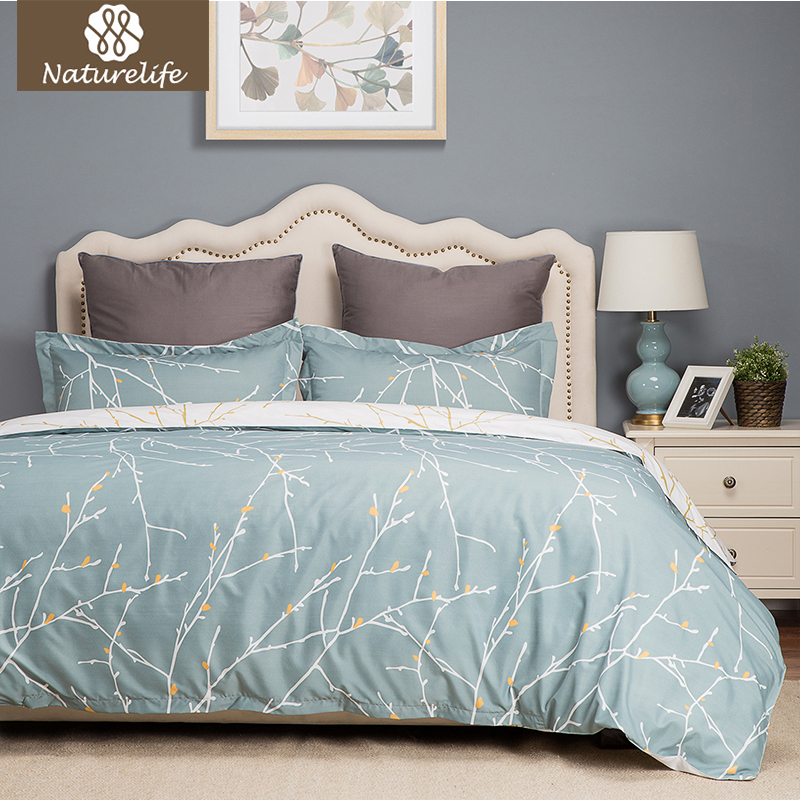 Naturelife Green White Printed Branch Pattern Reversible Duvet Cover Bed Sheet Soft Hypoallergenic Microfiber Textile Bed Linen