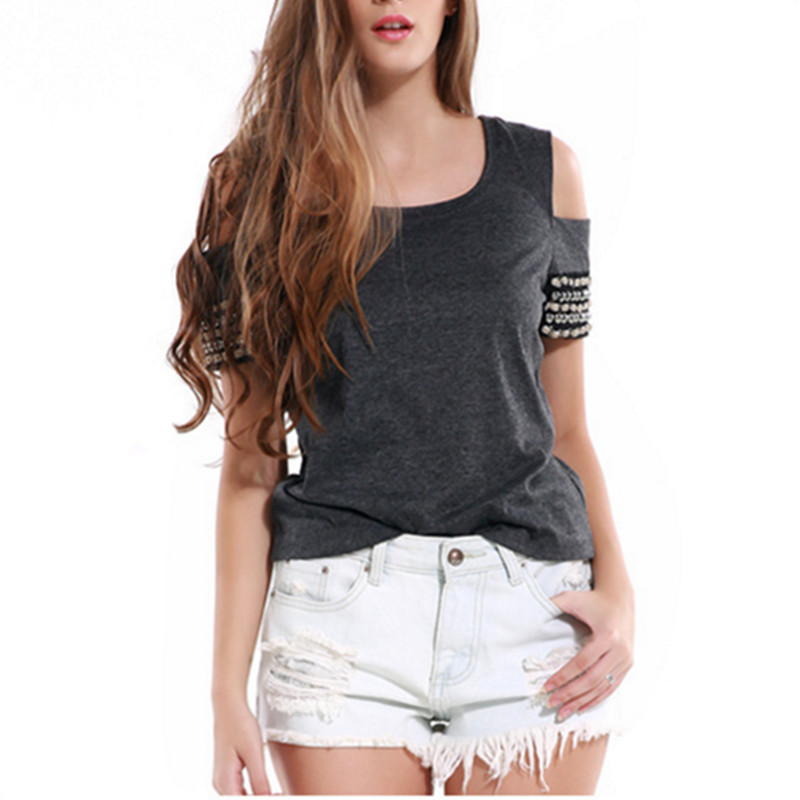 2018 new knitted Off the Shoulder T Shirt Women Tops O-Neck Tees Female Short Sleeve Casual Summer T-Shirts AB288