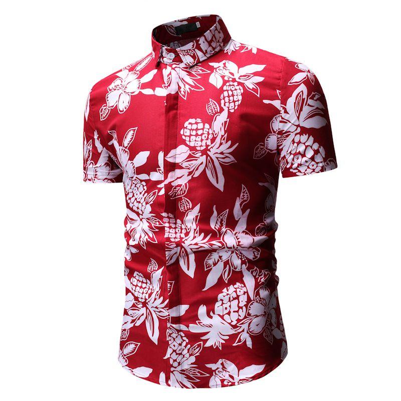 MarKyi fashion floral print mens dress shirts slim fit short sleeve casual shirt men 2018