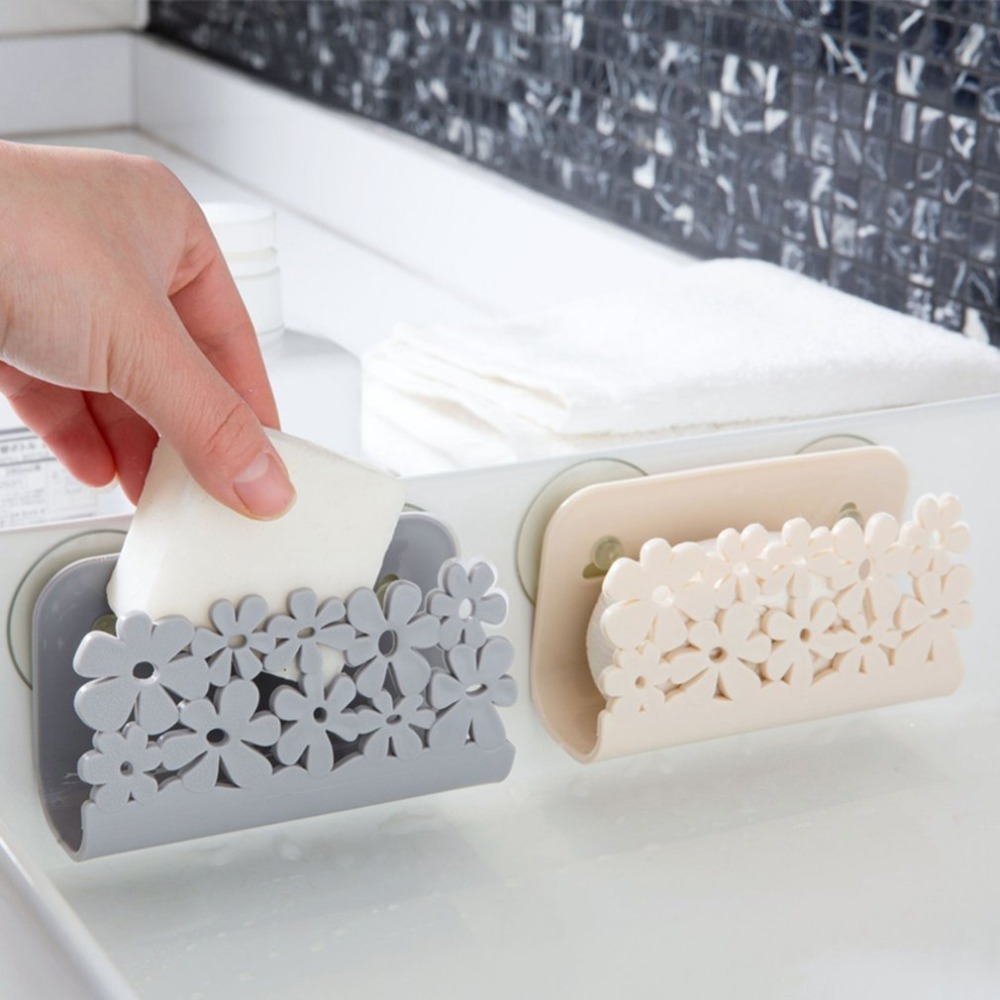 2 colors Practical Design Sucker Type Bathroom Shelf Towel Soap Dish Holder Kitchen Sink Dish Sponge Storage Holder Rack