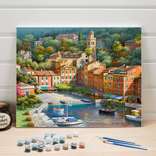Paint Painting By Number Town Scenery DIY Acrylic Coloring Art On Canvas Wall Pictures For Living Room Adults Drawing One Piece(China)