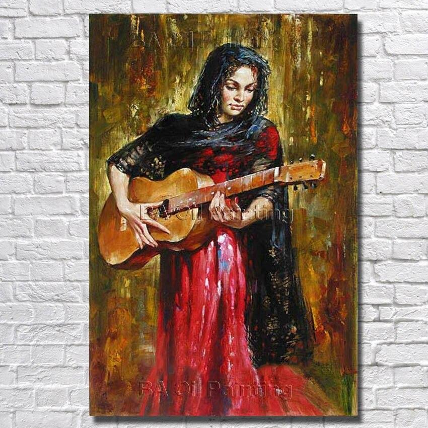 Abstrak Murni tangan-dicat Wanita Bermain Gitar Minyak Lukisan Pada Kanvas  Indah Lukisan Modern Dekorasi Rumah Gambar Tidak Bingkai 7e97ab8c82