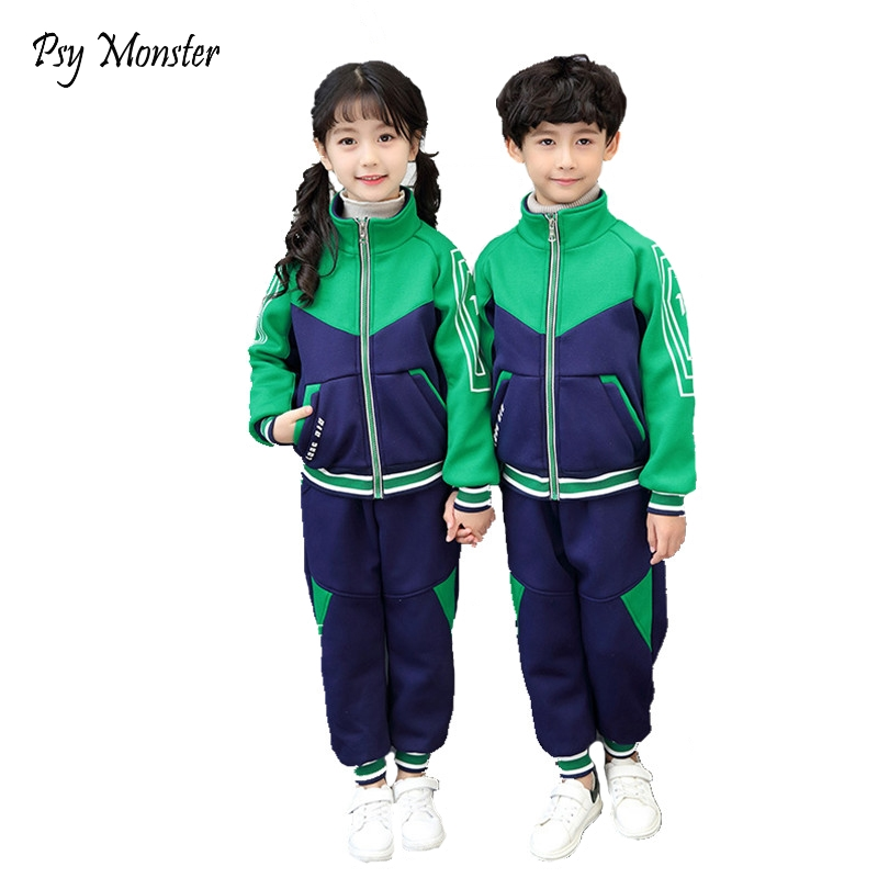 Brand Design Girls Spring School Uniform Boys 3-12T Zipper Baseball Tracksuit Kids Sports Games Clothing Set Jogging Suit A49
