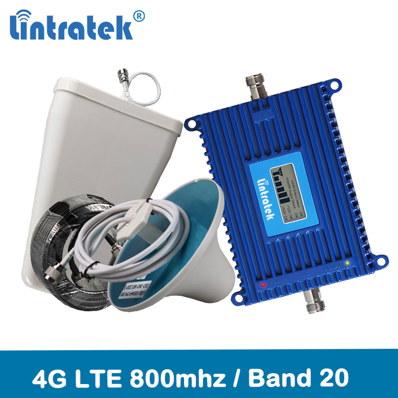 Lintratek 4G LTE 800 Signal Repeater Band 20 4G Network 800mhz Mobile Signal Booster 70dB Gain LCD Display 4G Amplifier Kit @6.7