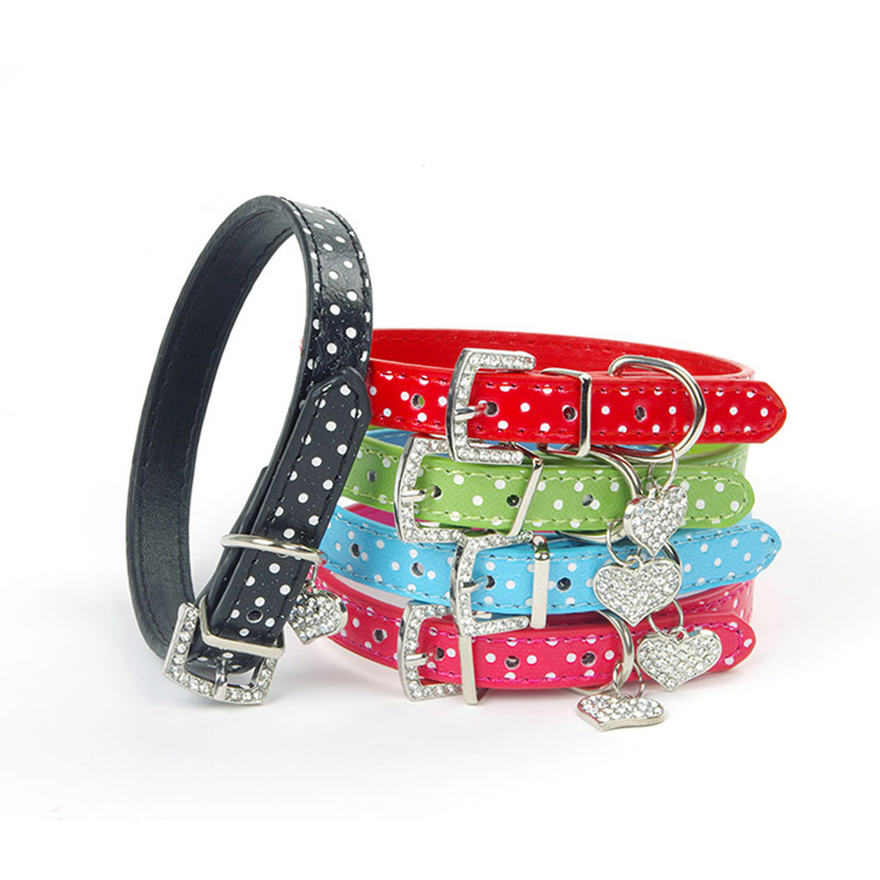1pcsDog Collar Heart Crystal Pendant Lovely Small Pet Collar Polka Dot Pattern Led Dog Leash Perros Mascotas Accesorios Animales ...