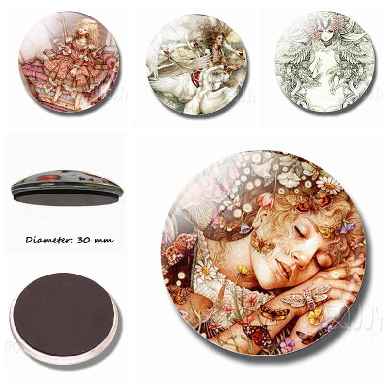 Милые Принцессы, 30 мм, магнит на холодильник, стеклянные купольные украшения, мультяшная сказка, магниты на холодильник, украшение на холодильник, домашний декор