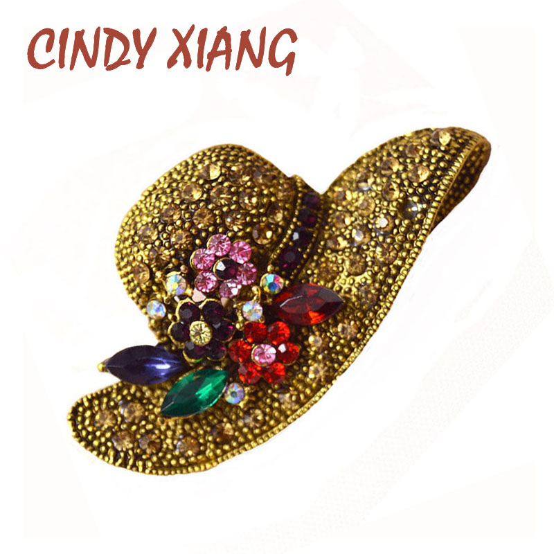 CINDY XIANG 2 Colors Big Hat Rhinestone Brooch Vintage Flower Pins and Broches Antique Fashion Jewelry Scarf Buckle Jewelry