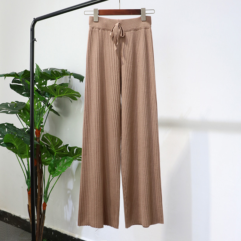 2018 Women Long Trousers Autumn Winter Elastic High Waist Knitted Pants Female Wide Leg Pants Casual Loose Pants Plus Size A1206 2