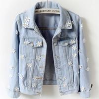 New Fashion Flower Hands Made Pearl Beaded diamond slim Jeans Coat Women Denim Jackets