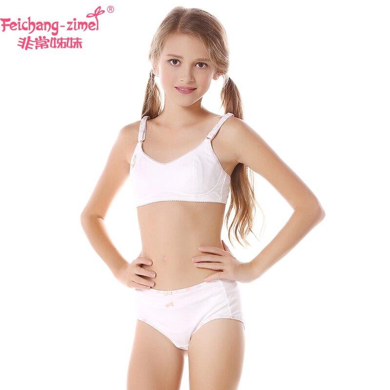 68e7b895191c0 Free Shipping Feichangzimei Girl Underwear Set Cotton White Green Pink Bras  for 12 Year