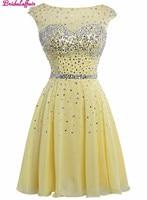 Желтое платье для выпускного Тюль Кристалл Scoop средства ухода за кожей Шеи Homecoming платья для женщин Новинка 2018 года Мини Выпускной платье кок