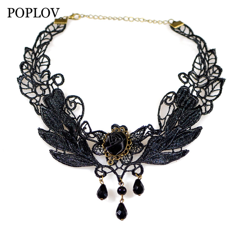 POPLOV Vintage Black Lace Women Choker Necklace Trendy Gothic Hollow Collar Jewellery Steam Punk Chocker Jewelry