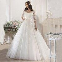 New Arrival Ball Gown Wedding Dress 2016 Sweetheart Half Sleeve Robe De Mariage Court Train Applications