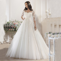 New Arrival Ball Gown Wedding Dress 2016 Sweetheart Half Sleeve Robe De Mariage Court Train Applications