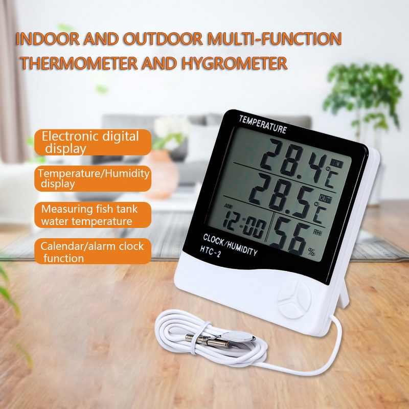 LCD Digital Temperature Humidity Meter HTC-1 HTC-2 Indoor Outdoor hygrometer thermometer Weather Station with Clock