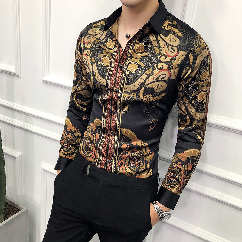 Luxury Black Gold Printed Shirt Male 2019 New Slim Long-sleeved Shirt Camisa Masculina Petticoat Men's Social Club Prom Shirt