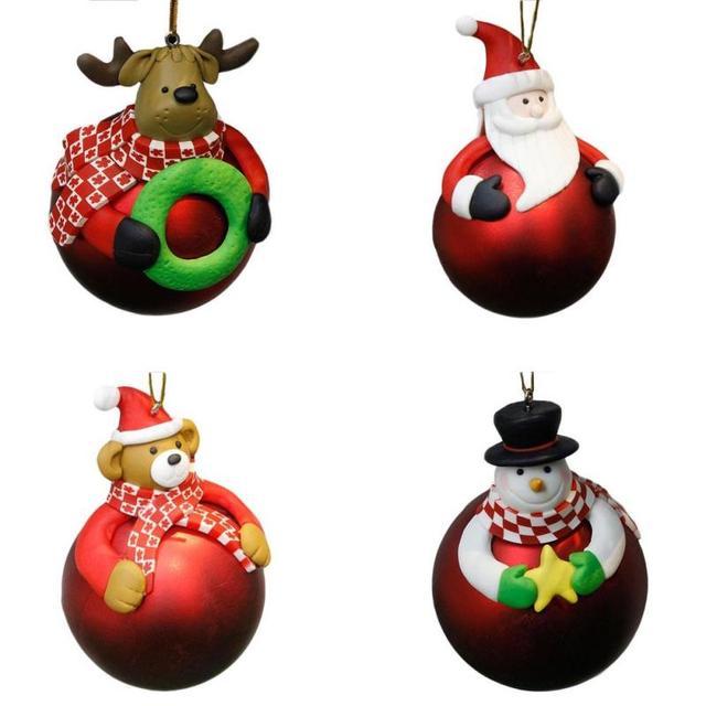 Cartoon Christmas Ball Round Santa Claus Snowman Reindeer Christmas Tree  Pendants Xmas Party Crafts Ball Hanging - Cartoon Christmas Ball Round Santa Claus Snowman Reindeer Christmas