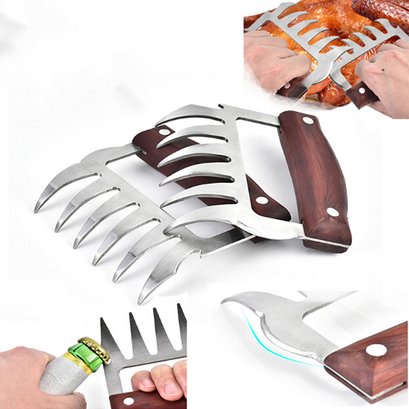 2PC Bear Meat Claws BBQ Pulled Pork Shredder Handler Fork Tong Chicken Beef Tool