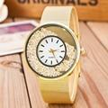 2016 New Brand Gold Geneva Crystal Casual Quartz Watch Women Metal Mesh Stainless Steel Dress Watches Relogio Feminino Clock Hot