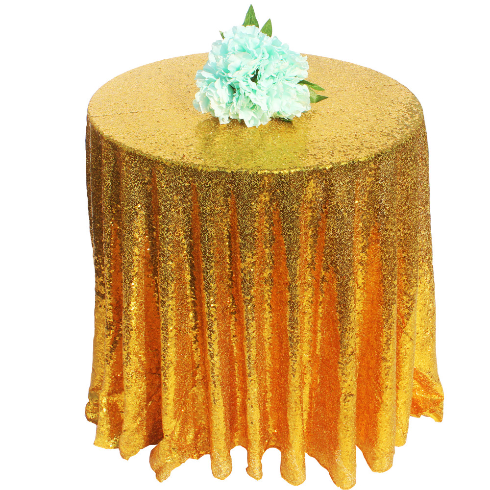 72 Inch Champagne/ Gold / Silver Round Sparkly Glitz Sequin Glamorous Tablecloth/Fabric  ...