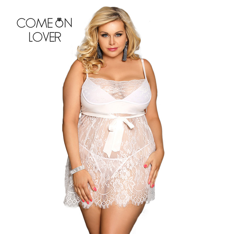 Comeonlover Sexy Dessous Eyelash Trim Lace Lingerie Plus Size Sexy Nightwear Lenceria Sexy Hot Erotik Lingerie Nightgown RI80456 1