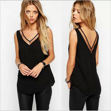 Europe and the United States Summer New Solid Color V-neck Gauze Stitching Vest T-shirt