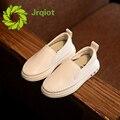 JRQIOT 2017 Новая Весна Кожа Shoes Сплошной Белый Ленивый Shoes PU Моды Дети Удобные Мальчики Девочки Shoes