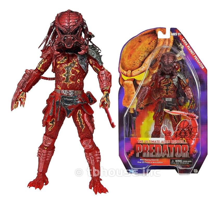 NECA Filme Predator VS Alienígenas Ciência Monstro Cor Rara Colméia Guerra Lava Planeta Predator figura de Ação Brinquedos Modelo