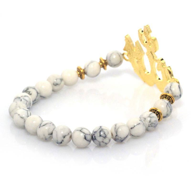 Image 3 - 8mm White Turquoises Natural Stone Bracelets for Women Men Allah  Charm Muslims Stretch Elastic Muslims Beads Bracelet Jewelrymuslim  braceletbracelet braceletelastic charm bracelet