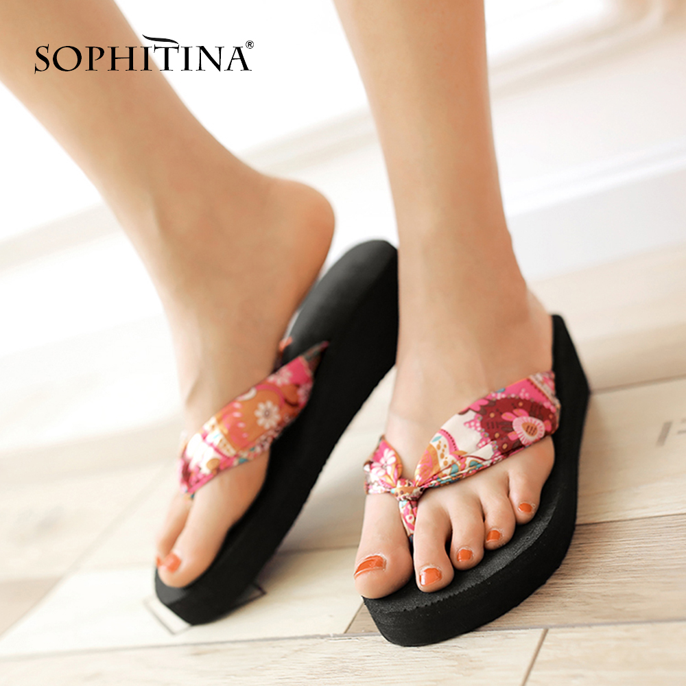 SOPHITINA Chengdu China Slippers Comfortable Wedges Fashion Print Riband Shoes Special Design Hot Sale Women s