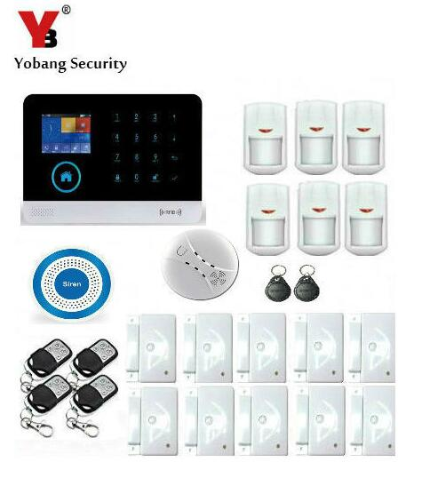 Yobang Security WiFi GPRS Alarm Home Security System SMS Alert Smoke Detector House Intelligent auto Burglar Door Security Kit yobang security wireless alarm house home security system sms auto dialer gsm alarm system with pir motion sensor smoke detector