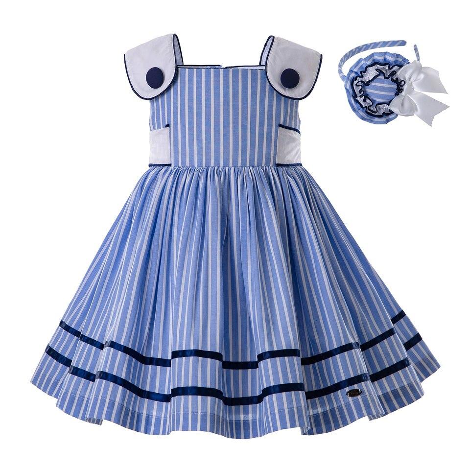 Pettigirl Wholesale Summer Girls Dresses Blue Sleeveless With Headwear Stripe Boutique Clothes Children Costume G DMGD201
