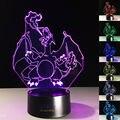 Envío Gratis Nueva 3D Lámpara de Luz Dragonite Pikachu Charizard Pokemon ir Mega de Colección 7 Colores Nightlight para Cuarto de Los Niños