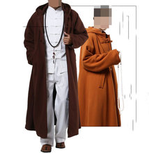 unisex 4color cotton meditation cloak robe zen Warm Buddhist Monk suits nun winter lay clothing martial artsgown mantle cape(China)