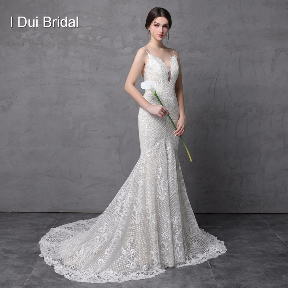 Spaghetti Strap Mermaid Wedding Dresses Luxury Lace High