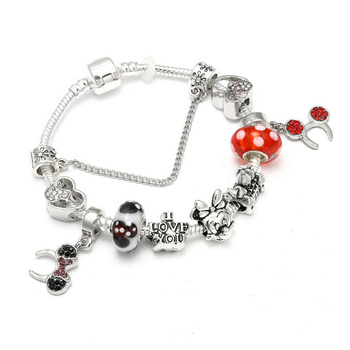 Cute Mickey Mouse Themed Bracelet Bracelets Jewelry New Arrivals Women Jewelry Metal Color: 2 Length: 20cm