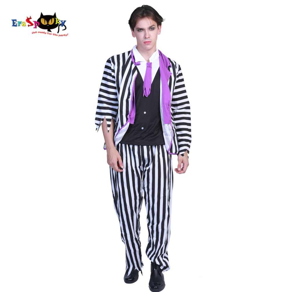 Plus Size Mens Deluxe Beetlejuice Costumes Movie Scary Halloween Costume For Adult Striped Suit Horror Prisoner Carnival Outfit Aliexpress