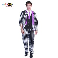 Plus size Mens Deluxe Beetlejuice Costumes Movie Scary Halloween Costume for Adult Striped Suit Horror Prisoner Carnival Outfit