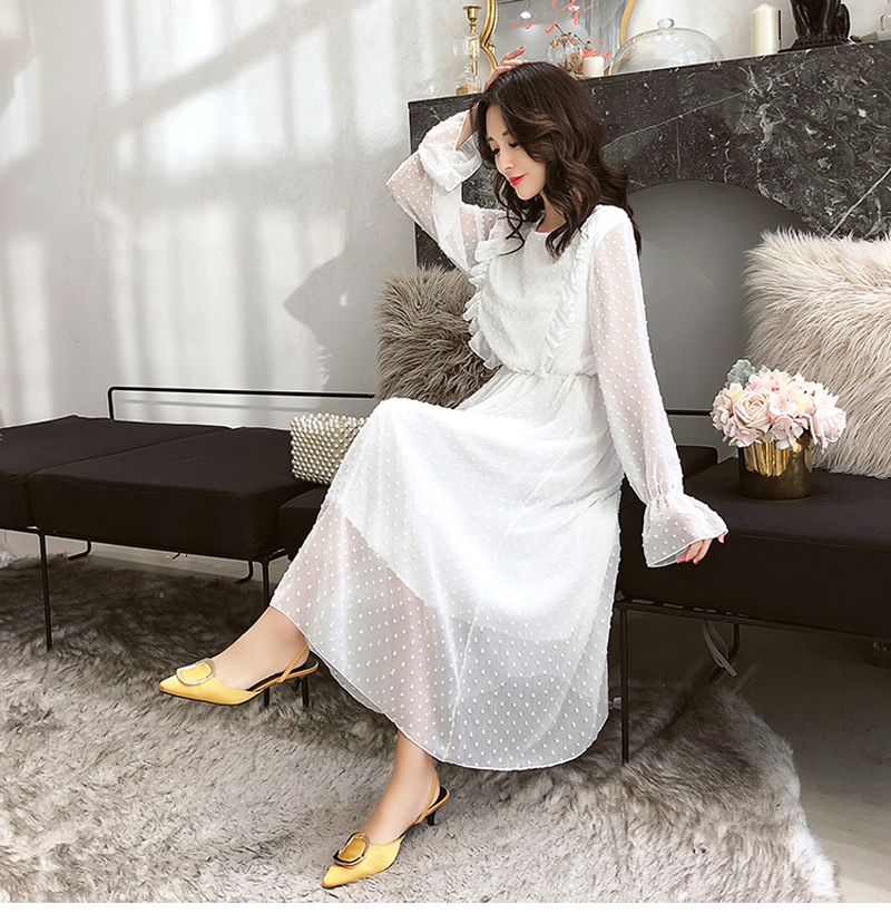 BGTEEVER Ruffles Polka Dot Women Chiffon Dress Elastic Waist Flare Sleeve Female Long Vestidos A-line White Dress 19 19