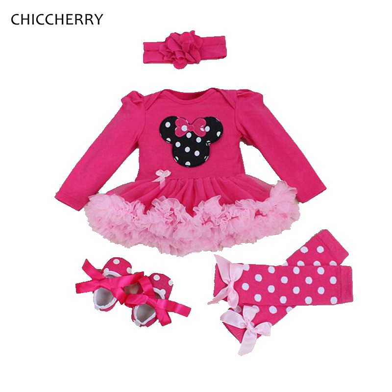 Long Sleeve Minnie Children Suits 4PCS Newborn Baby Girl Tutu Sets Fantasia Infantil Romper Dress Kids Clothes Infant Clothing pink 1st birthday outfits for girls newborn infant lace tutu dress romper set 2017 vestido infantil toddler romper dress clothes