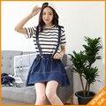 2017 горячая продажа летний Корейский стиль карманы кнопки отверстия stonewashing фигура лестно длинные свободные джинсы ремень dress #5026