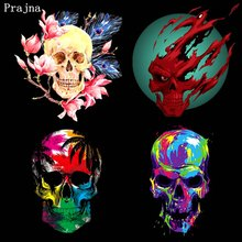 Prajna Punk Skull Rose Patches DIY Iron-On Transfer Heat Vinyl Thermal Stickers Ironing On Clothes T-shirt
