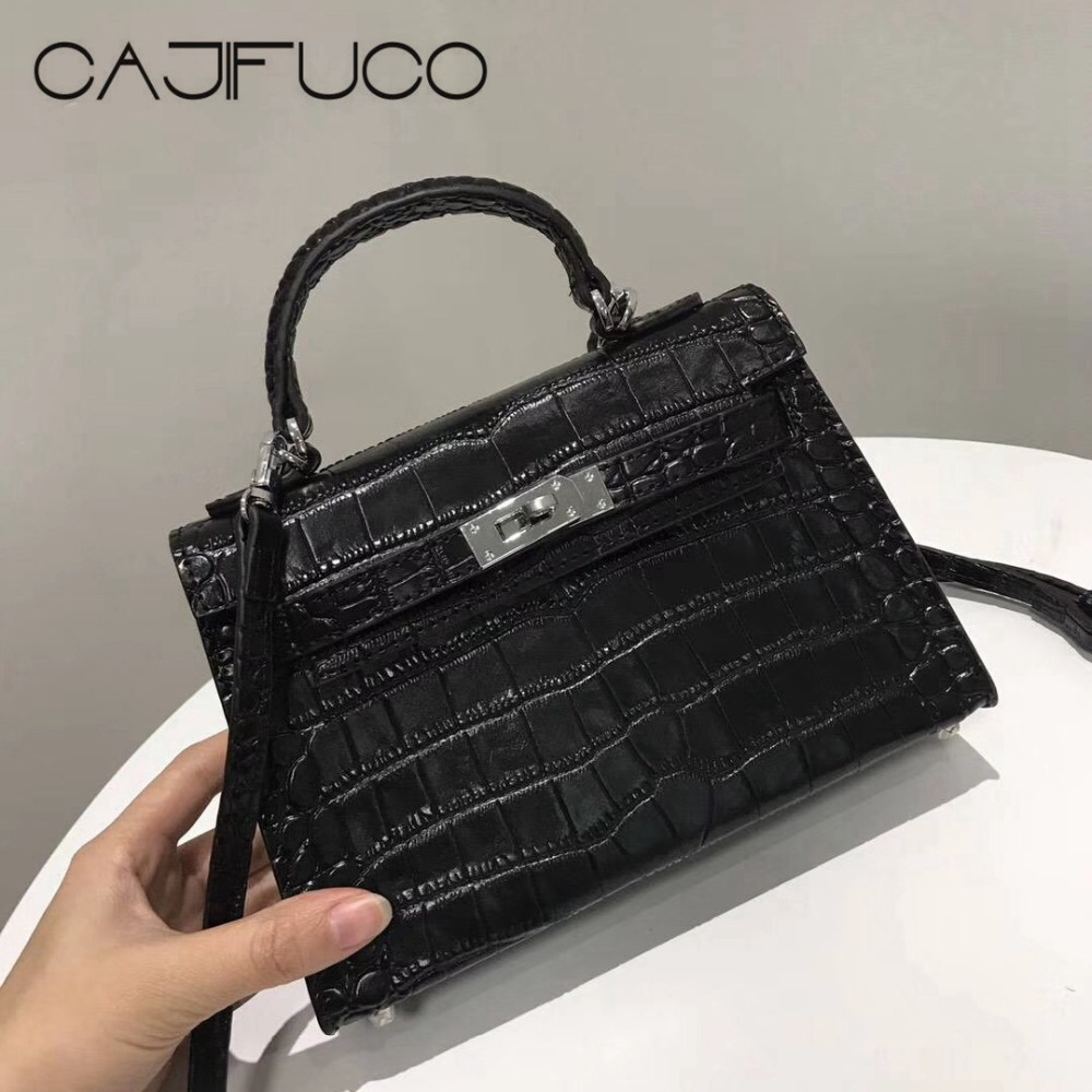CAJIFUCO Black Small Crocodile Crossbody Bag Fashion Genuine Leather Handbag Women Classics Hasp Bag With Shoulder Strap genuine leather studded satchel bag women s 2016 saffiano cute small metal rivet trapeze shoulder crossbody bag handbag